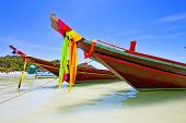 stock photo of boat  - asia in the kho tao bay isle white beach rocks house boat thailand and south china sea anchor - JPG