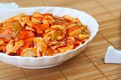 picture of chinese parsley  - dish with delicious steamed vegetables and meat - JPG