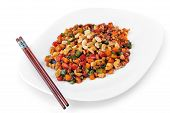 picture of chinese parsley  - steamed vegetables and meat with peanut on plate - JPG