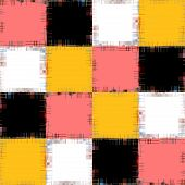 stock photo of chessboard  - Multicolored patch pattern collage in a chessboard order as abstract background - JPG