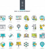 picture of antivirus  - Set of line modern color icons for SEO and web development - JPG