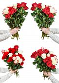 picture of bunch roses  - set of bunches of many rose flowers in male hands isolated on white background - JPG