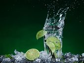 pic of freeze  - fresh mojito drink with liquid splash - JPG