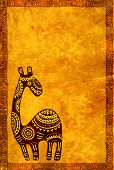stock photo of african animals  - Background with grunge paper texture and African traditional animal - JPG