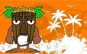 stock photo of tiki  - tiki hawaiian mask cartoon summer background in vector format very easy to edit - JPG