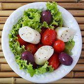 stock photo of black-cherry  - Fresh salad of heart of palm  - JPG