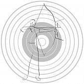 foto of archer  - Abstract outline athlete archer with a bow at the target - JPG