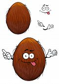 stock photo of hairy tongue  - Cute happy cartoon coconut with a cheesy grin and its tongue protruding and arms with a second plain variant with no face and separate elements - JPG