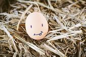stock photo of morbid  - Painted eggs about emotion on the face - JPG