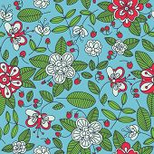 picture of strawberry plant  - Strawberry floral seamless pattern background with red berries and green plants in square format suitable for print - JPG