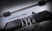 stock photo of typewriter  - Vintage inscription made by old typewriter Curriculum vitae - JPG