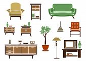 foto of flat-bed  - Flat interior decorations and furniture icons set with chair - JPG