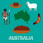 picture of boomerang  - Australian conceptual travel icons and landmarks with australian map surrounded by mountain - JPG