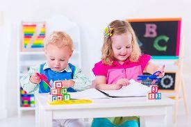 foto of chalkboard  - Kids at preschool - JPG