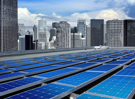 picture of solar battery  - solar panels on the roof of modern skyscraper - JPG
