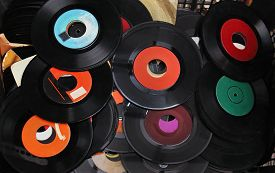 pic of lp  - Pile of old used vinyl records sold on vintage market - JPG