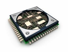 picture of cpu  - CPU with visible circuits over white background - JPG