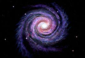 foto of planetarium  - Spiral galaxy illustration of Milky Way on black - JPG