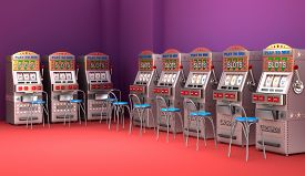 pic of poker machine  - Slot machines in the casino Interior on colorful background - JPG