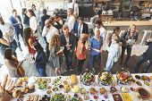Business People Meeting Eating Discussion Cuisine Party Concept poster