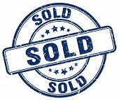 Постер, плакат: Sold Blue Grunge Round Vintage Rubber Stamp sold Stamp sold Round Stamp sold Grunge Stamp sold sold