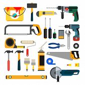 Working Tools Vector Set. Tools For Repair And Construction. Hand Drill, Saw, Level, Hammer, Screwdr poster