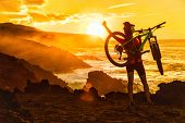Success, achievement, accomplishment and winning concept with cyclist mountain biking. Happy MTB wom poster