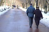 A Couple Of Seniors Walking