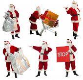 Xmas  background: Santa Claus, gifts,