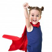 Adorable little girl flying like a superhero in blue t-shirt and red mantle. Super girl. The new gen poster