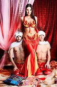 foto of concubine  - Shot of three young people in oriental costumes - JPG