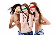 Shot of artistic young women of different nationalites posing together. Isolated over white backgrou
