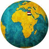 Egypt Flag On Globe Map