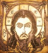 Portrait of Jesus made on metal plate