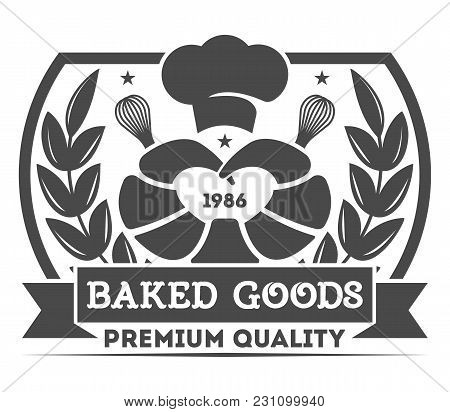 Bakery Shop Vintage Isolated Label Vector Bread And Cake House