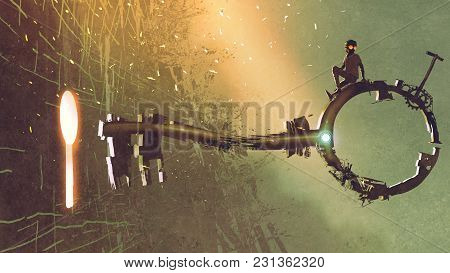 poster of Boy Sitting On The Big Key Moving Towards The Keyhole With Light Glowing Inside, Digital Art Style,