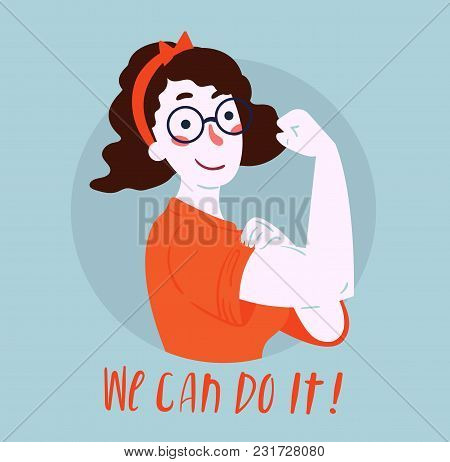 We Can Do It Poster Strong Girl In Eyeglasses Classical American