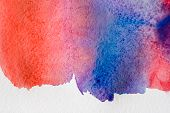 Abstract Hand Painted Watercolor Background, Wallpaper, Texture, Red, Blue And Violet Painting On Ca poster