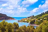 Portovenere Old Village On The Sea And Trees. Aerial View. Five Lands, Cinque Terre, Liguria Italy E poster