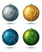 Four  Disco Balls, Vector Illustration