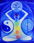stock photo of om  - Fine art painting of universal healing arts symbols om chakras reiki healer symbol and yin yang balance - JPG