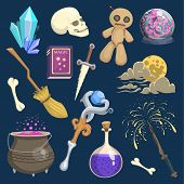 Magic Mystic Vector Witchcraft Wizard Wodo Trick Symbol Magician Wand And Surprise Entertainment Fan poster