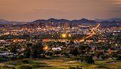 Aerial View Of Phoenix Arizona Skyline At Sunset poster