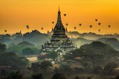 Scenic Sunrise With Many Hot Air Balloons Above Bagan In Myanmar. Bagan Is An Ancient City With Thou poster