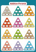 Maths Pyramids For Mental Maths Practice, Complete The Missing Numbers, Math Worksheet For Kindergar poster