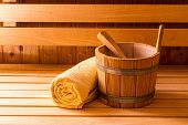 Finnish Wooden Sauna Bucket, Ladle And Towel poster
