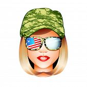 Beautiful US army girl head in combat uniform