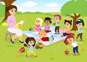 Vector Illustration Of Children S Activities At The Summer Camp, Kids Playing In The Park, Teacher I poster