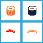 Icon Flat Sushi Set Of Maki, Sushi, Salmon Rolls And Other Vector Objects. Also Includes Sushi, Seaf poster