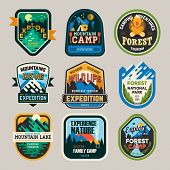 Isolated Signs Or Badges, Logo For Mountain Climbing Or Hiking And Forest Camp At National Park, Lak poster
